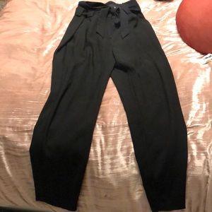 Black tie up dress pants